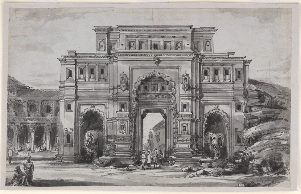 The Nagarkhana or northern gateway to the old palace at Kolhapur, with elephants in chambers on either side of the central gateway